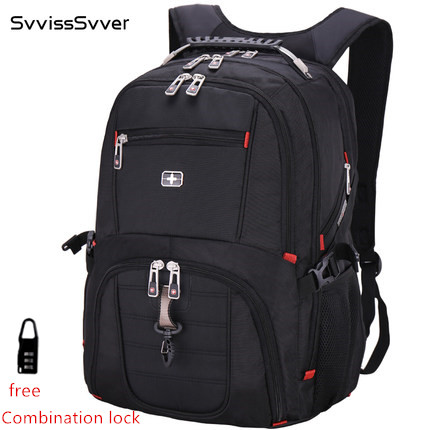 svvisssvver male MP3 USB charging fashion business casual tourist waterproof 15.6 and 17inch Laptop men backpack Music backpack
