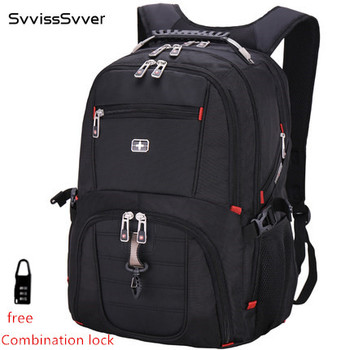 svvisssvver brand men MP3 USB charging fashion business casual tourist waterproof 15.6 and 17inch Laptop backpack Music backpack laptop bag