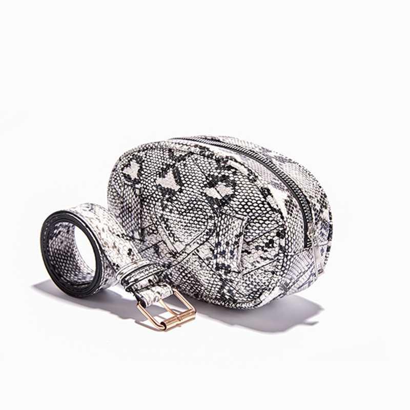 2019 新しい女性ファニーパックファッション蛇行ウエストバッグ女性革のウエストパックヴィンテージウエストベルトバッグ電話ポケット