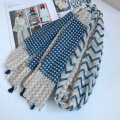 Geometry Wave Stripe Women Scarf Contrast Patchwork Scarves Beach Tassels Pashmina Brand New