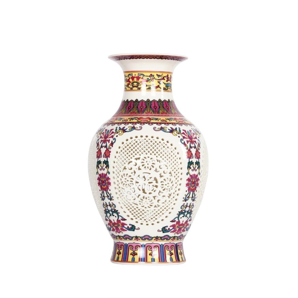 Antique Chinese-style Palace Restoring Ancient Ways Jingdezhen Hollow White Ceramic Vase For Artificial Flower Decoration Vases vase