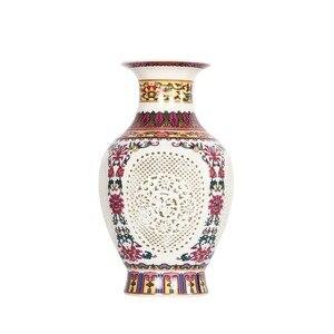 Image 1 - Antique Chinese style Palace Restoring Ancient Ways Jingdezhen Hollow White Ceramic Vase Decoration Flower Vases