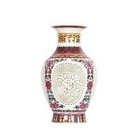 Jingdezhen antyczne stylu Chińskim Przywracając dawne Sposoby Pałac Hollow Biały Ceramiczny Wazon Dla Sztuczne Dekoracje Kwiatowe Wazony