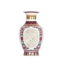 สไตล์จีนโบราณ Palace คืนวิธีโบราณ Jingdezhen Hollow สีขาวแจกันเซรามิคตกแต่งแจกันดอกไม้