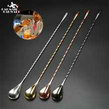 304 Stainless Steel Cocktail Bar Spoon Spiral Pattern Japanese Bar Spoon все цены
