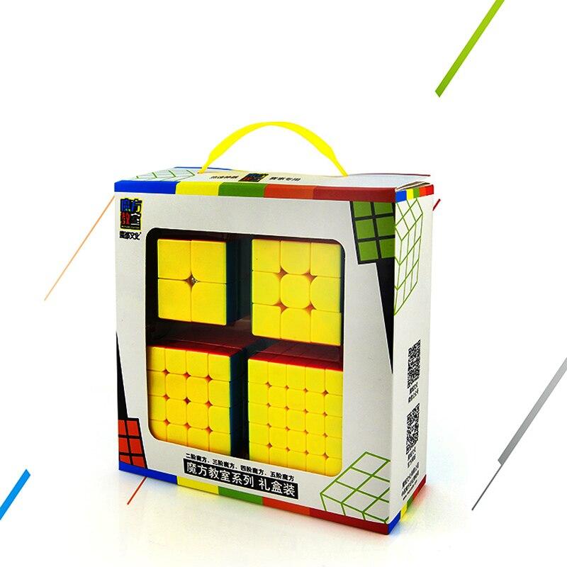 Vitesse Cube Faisceau, Moyu Mofang Jiaoshi MF2S 2x2 MF3S 3x3 MF4S 4x4 MF5S 5x5 Stickerless Cube magique 234 Set avec Boîte-Cadeau