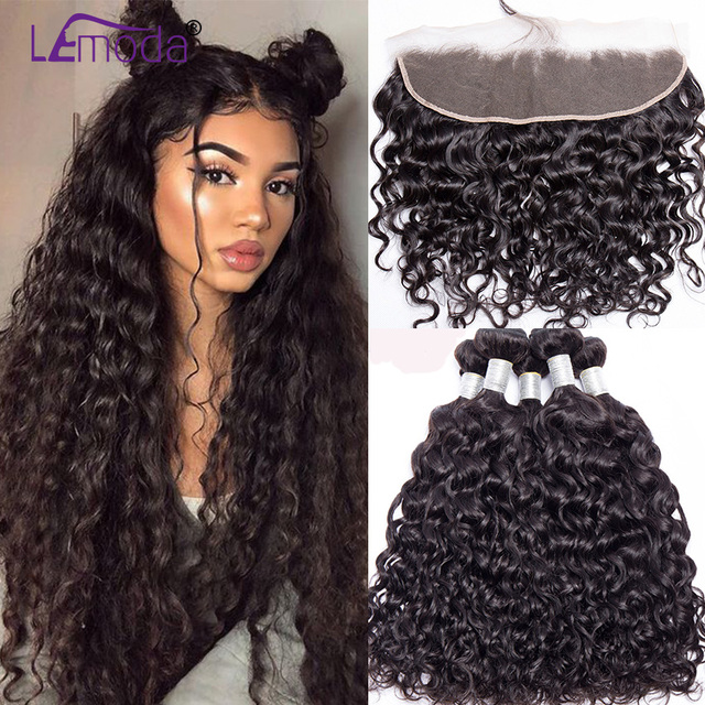LeModa Malaysian Water Wave Human Hair 3 Bundles With Lace Frontal Closure Remy Hair Extensions 13x4 Lace Frontal With Bundles