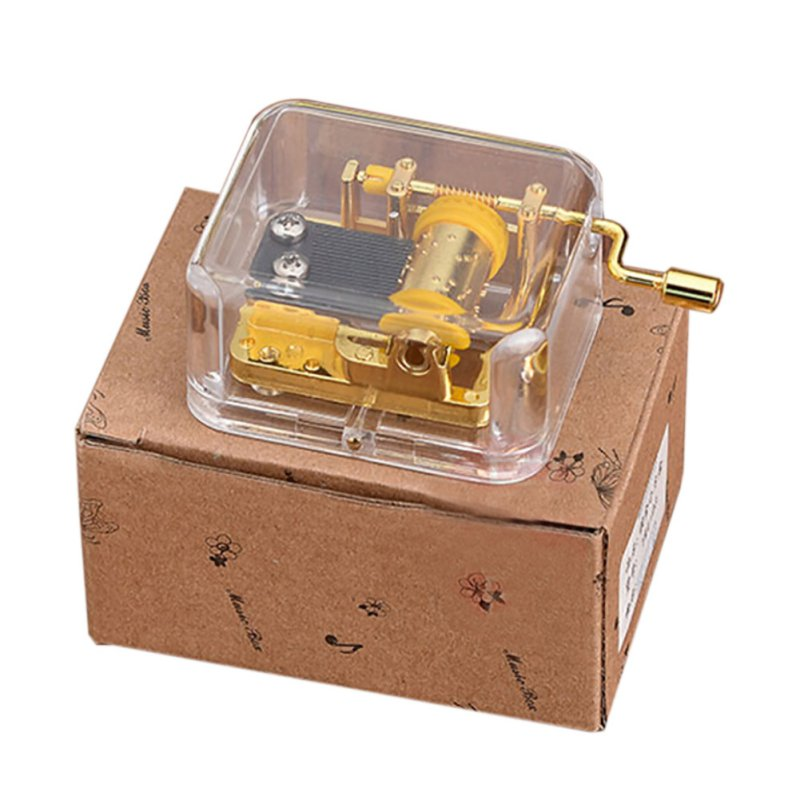 Music Box Exquisite Clear Acrylic Square Gold Hand Cranked Gurdy 18 Note Music Box Play Castle in the Sky H01