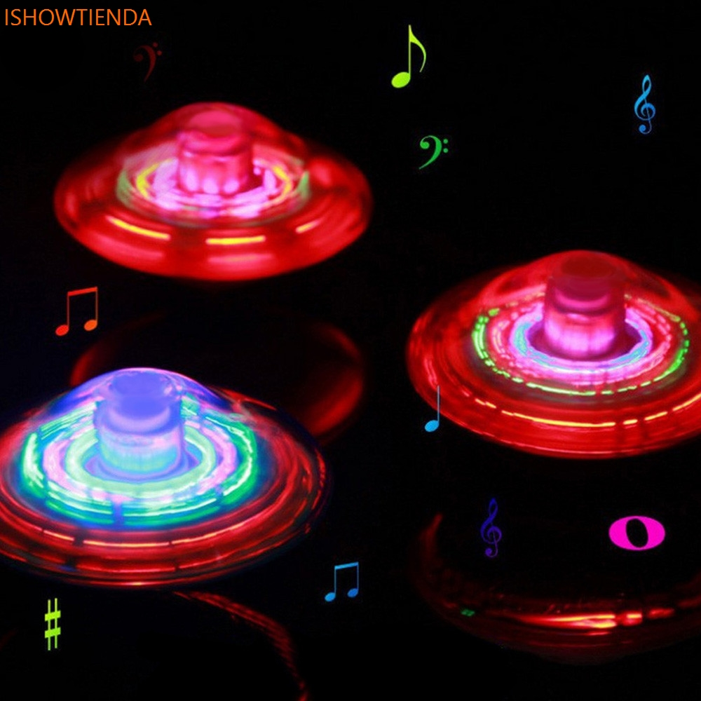 цена на Novel Crown Gyro LED Light Music Flashing Spinning Toy Electric Peg-Top Outdoor Gift Drop Shipping