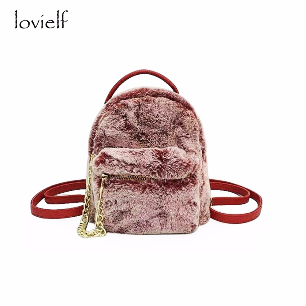 lovielf NEW Cute Women Girl Lady Fashion Red pink Black Mini Small Chain Furry Backpack vans wm realm backpack pink lady ph