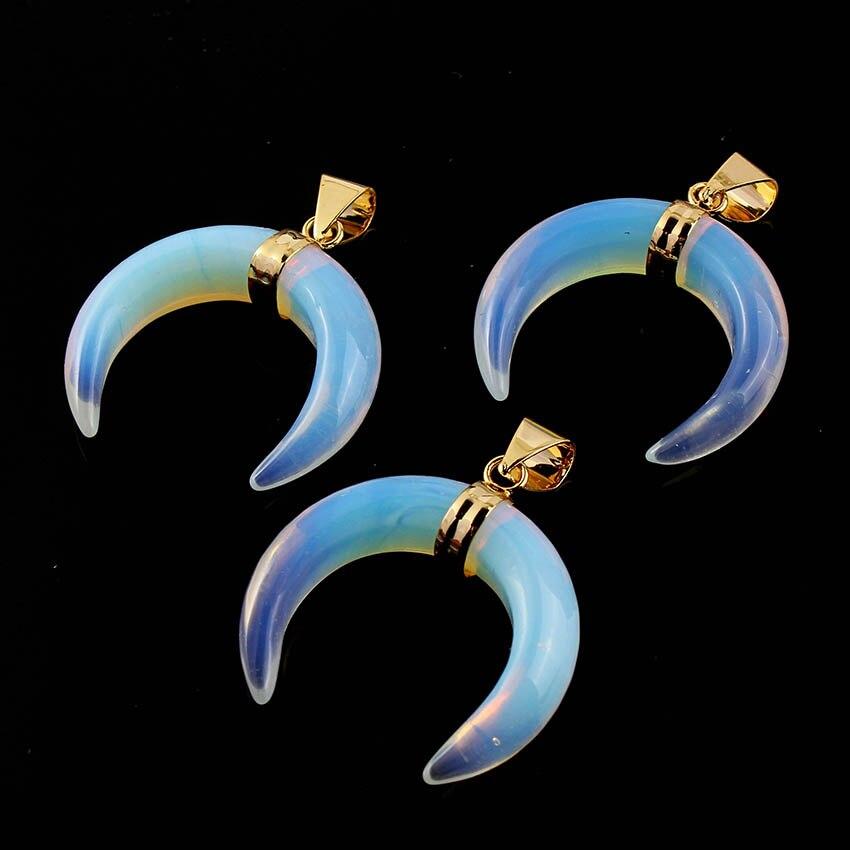 Kraft-beads Popular Light Yellow Gold Color Opalite Opal Crescent Moon Stone Pendant Charm Jewelry