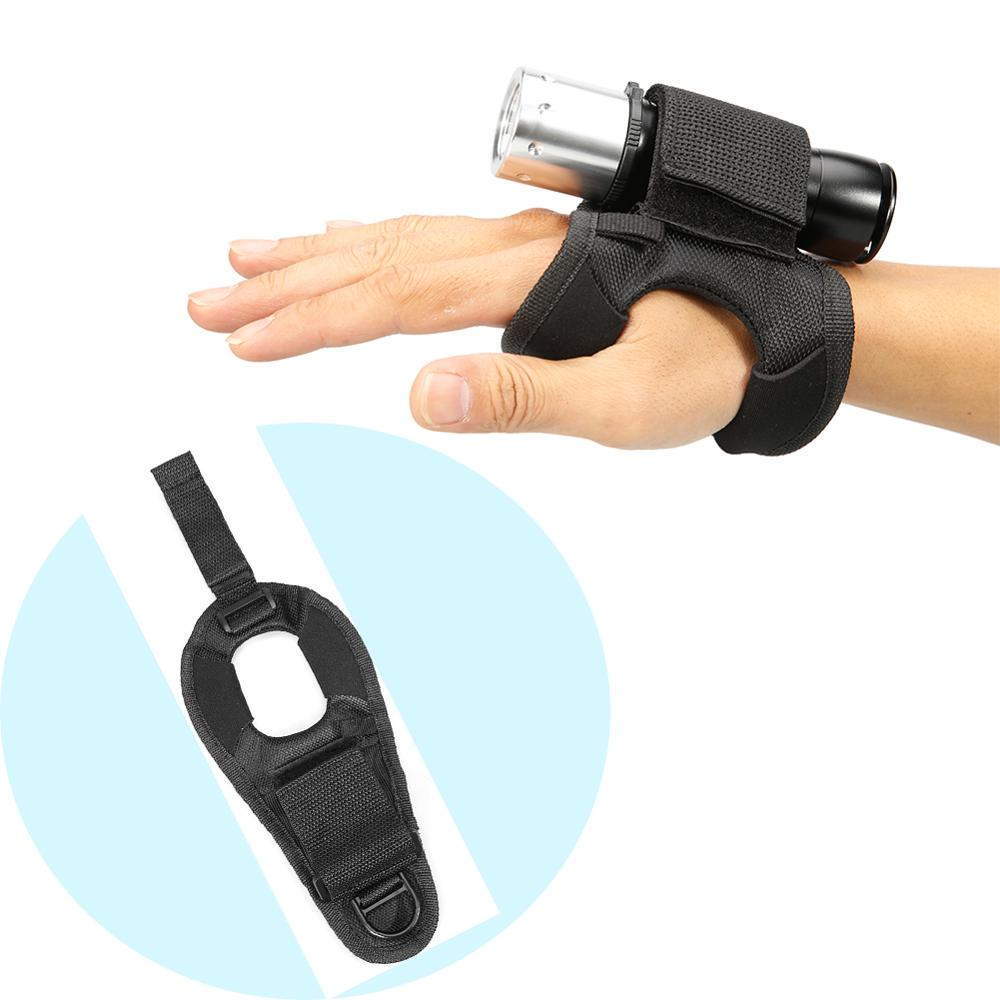 Diving Flashlight Glove Underwater Torch Hand Free Light Holder Nylon Glove Gloves Adjustable Soft Black Neoprene Wrist Strap