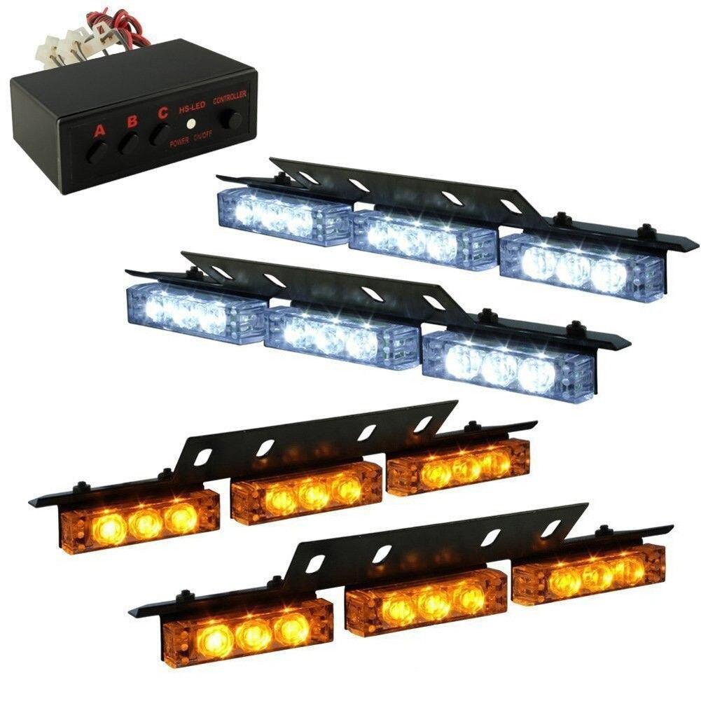 Universal Car Styling Amber and White Flash Light 12V Police Firemen Emergency Warning Strobe Light Beam Led Lamp