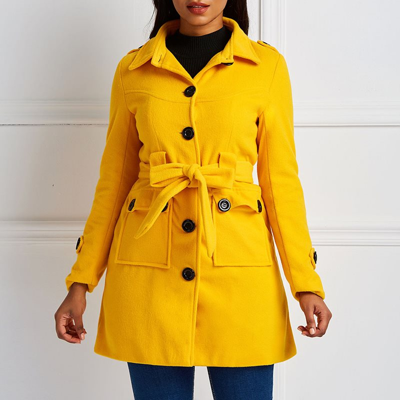 Winter Casual Warm Yellow Plus Size Red Women Overcoats Slim Lapel Lace Up Button Autumn Office Ladies Female   Trench   Coats
