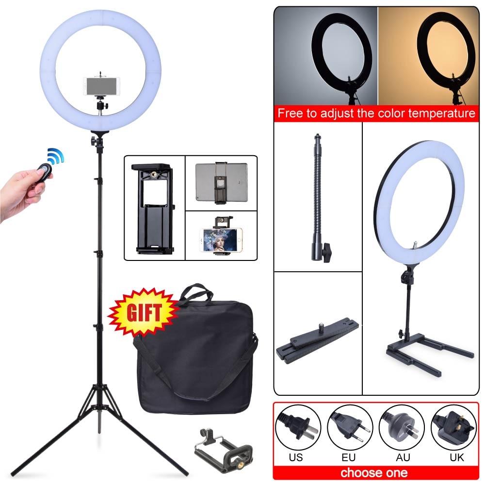 "Led Lighting For Camera Phones Tablet Full Hd Do 500 Zl Smonet Wireless Hd Camera Cctv Security Kit Hd Tv Shows Stream: Studio 80W 18"" 48cm 2700K~5500K LED Dimmable Ring Light"