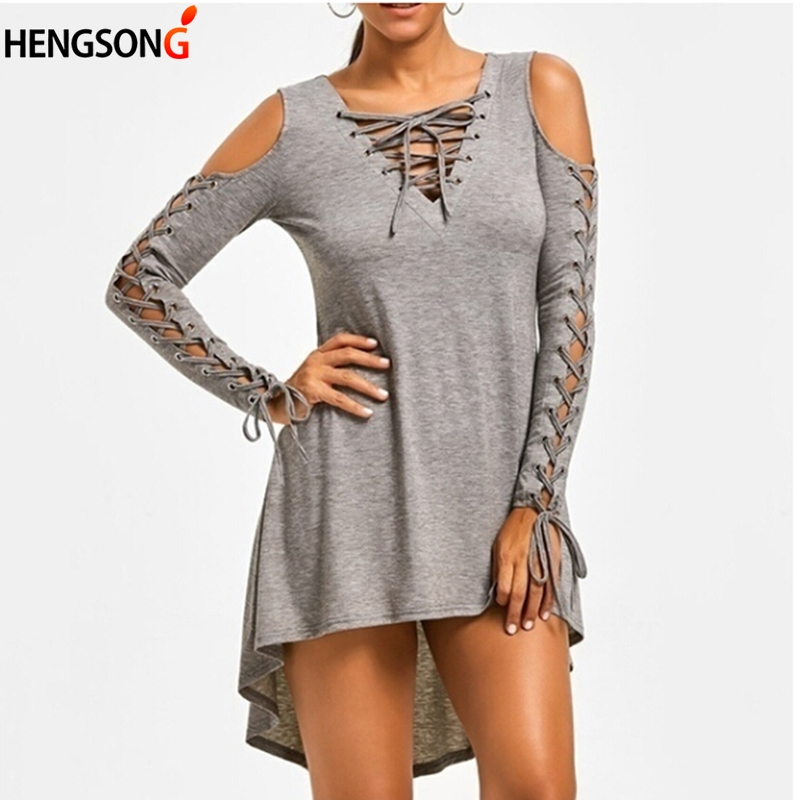Sexy Hollow Out Sleeve lace up dress fashion casual party mini above knee dresses vetidos Female autumn dress vestido