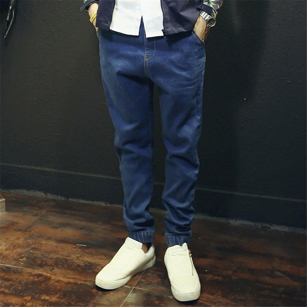 цена на Men Classic Blue Jeans Casual Straight Solid Loose Cotton Elastic Waist Jean Jogger Pants for Men D5085 S-4XL
