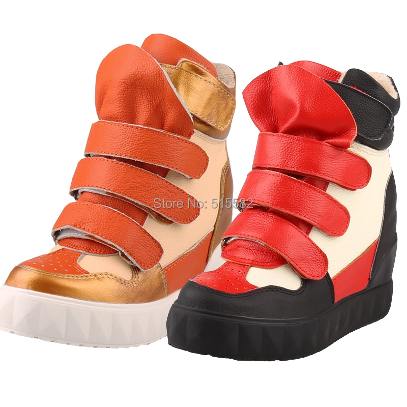 2018 fashion platform thick sole hidden wedges heels warm casual shoes female height increasing elevator high top winter shoes