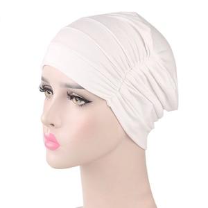 Image 2 - Женская индийская шляпа, новая мусульманская эластичная чалма, Кепка хиджаб, женская кепка для выпадения волос, повязка на голову, химиотерапия, Арабская шапочка, аксессуары