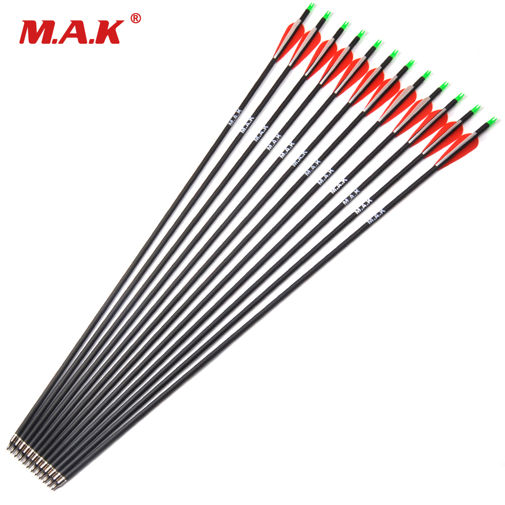 12pcs Carbon Arrow 28/30 Inch Spine 500 with Replaceable Arrowhead for Compound/Recurve Bow Archery Hunting 12 archery carbon arrow spine300 340 400 500 600 fluorescent yellow shaft compound bow shoot id6 2mm protect ring nock