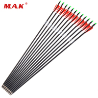 12pcs Carbon Arrow 28/30 Inch Spine 500 with Replaceable Arrowhead for Compound/Recurve Bow Archery Hunting