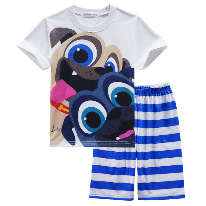 Baby Boys Summer Clothing 2018 Kids Clothing Sets Children Clothes Sport Suits for Boy Cartoon Dog Striped Girl beach Tracksuits 2017 new boys clothing set camouflage 3 9t boy sports suits kids clothes suit cotton boys tracksuit teenage costume long sleeve