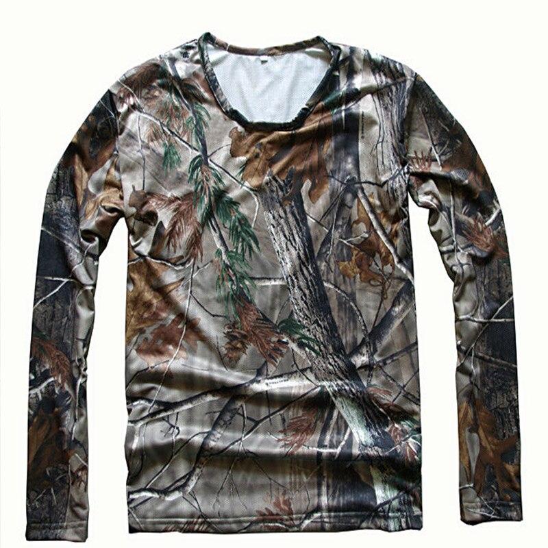 Erkek Biyonik Kamuflaj Avcılık Giysi Nefes Örgü Uzun Kollu T-Shirt için Açık Spor