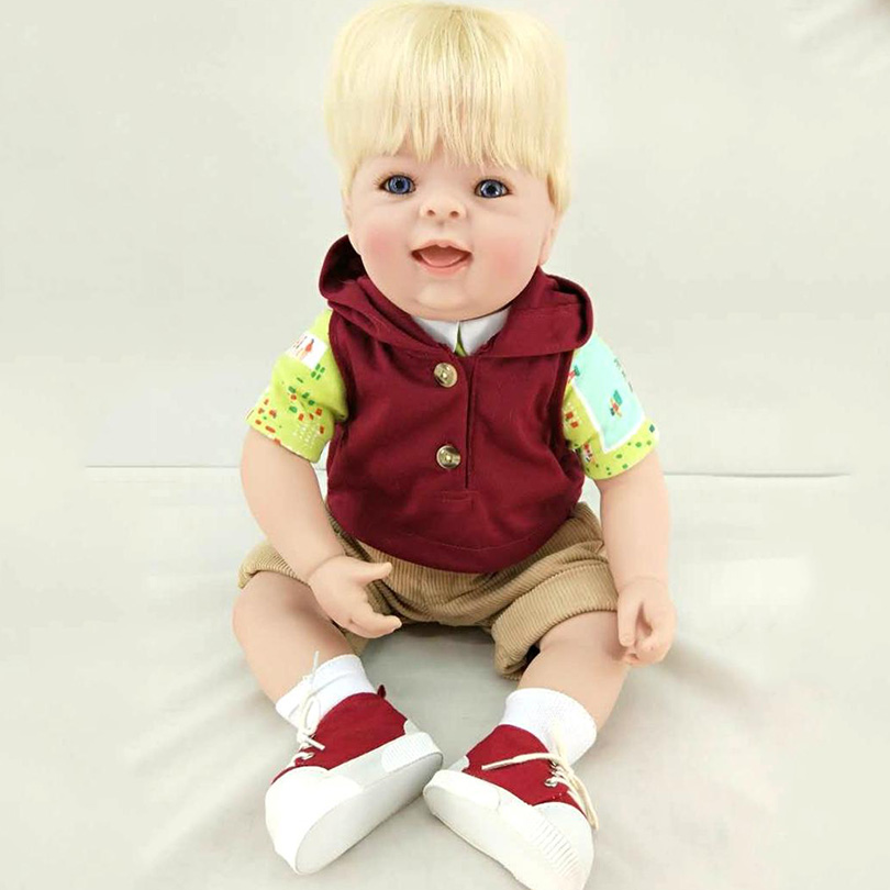 Simulation Boy Dolls With Clothes Smile Yellow Hair 50cm High End Realistic Alive Boneca New Fashion Silicone Collection Gifts