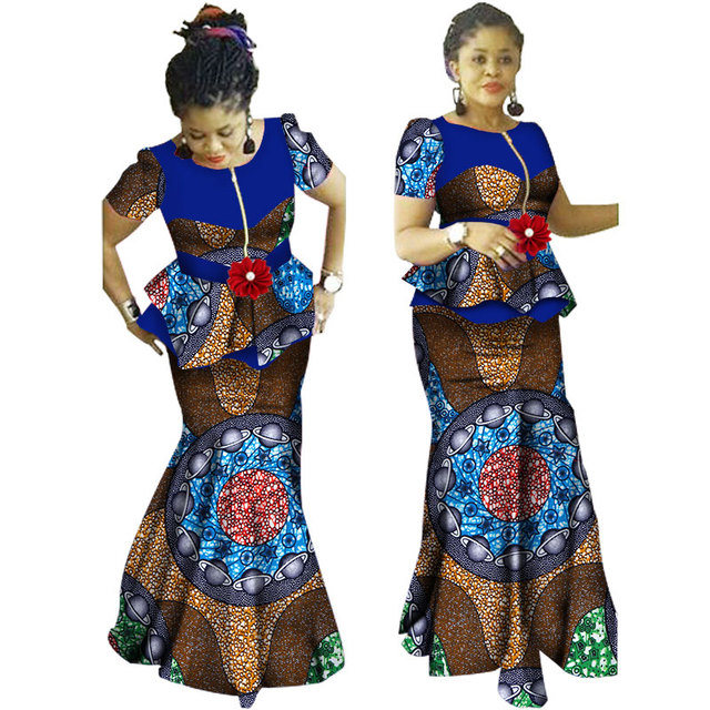 2019 African Skirt Sets for Women Dashiki Bazin Riche Patchwork 2 Pieces Sets Flower Ruffles African Traditional Clothing WY1234