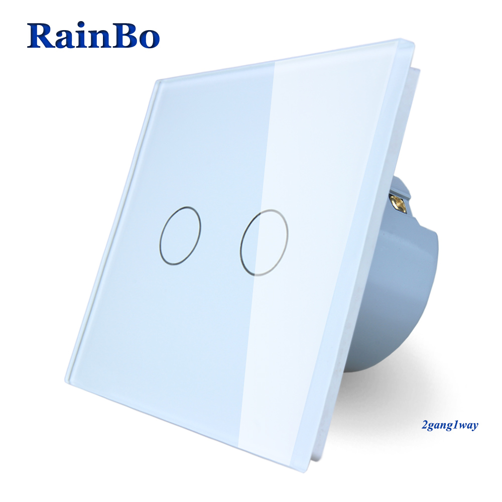 Rainbo marca nuevo cristal panel de cristal interruptor de pared estándar de la UE 110 ~ 250 V pantalla del interruptor de pared 2gang1way A1921CW/B