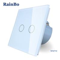 RainBo Brand New Crystal Glass Panel Wall Switch EU Standard 110 250V Touch Switch Screen Wall