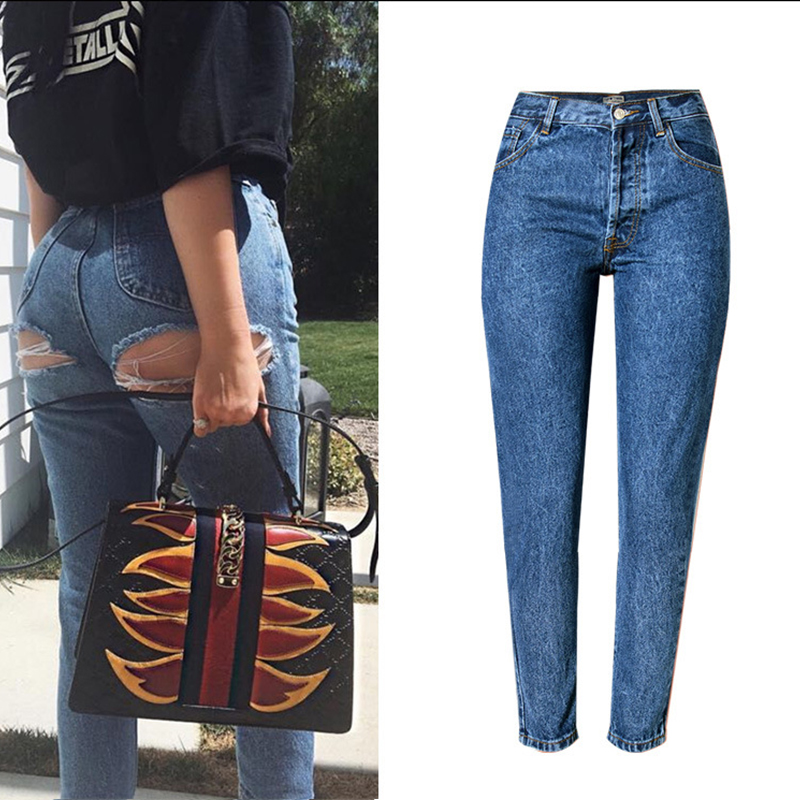 OlrainEuropeand theUnitedStates women's High waist trend street shot off the hip line Super sexy hole deduction cowboy trousers shot shot standart the beatles logo