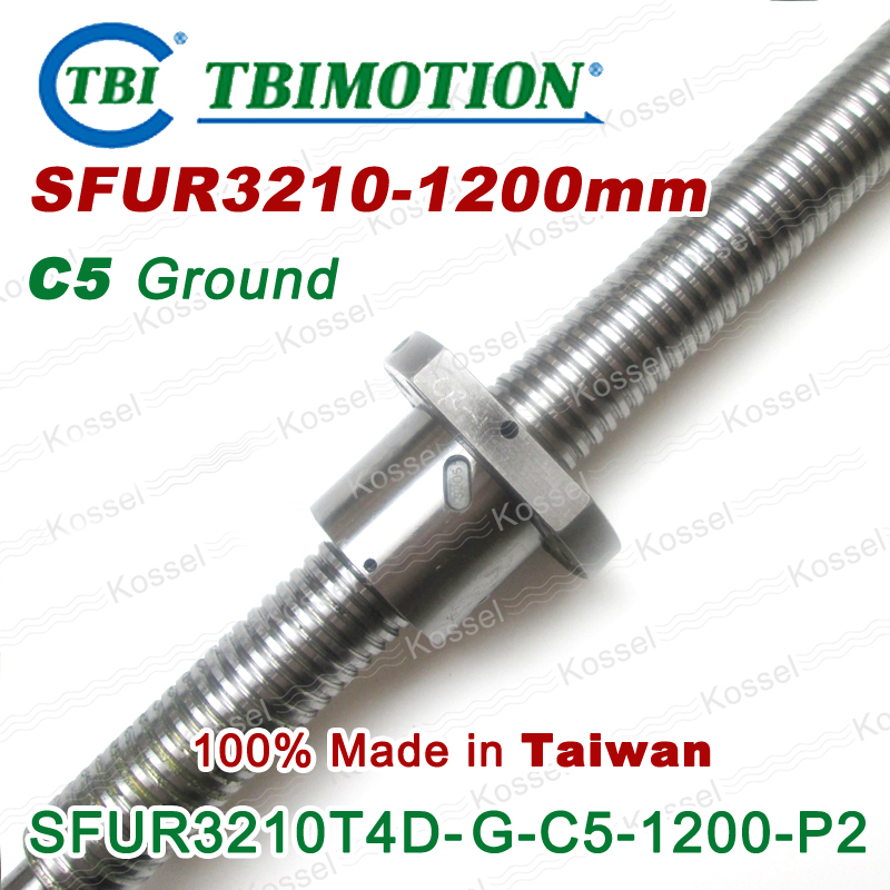 TBI 3210 C5 1200mm ball screw 10mm lead with SFU3210 ballnut of SFU set end machined for high precision CNC diy kit винт tbi sfkr 0802t3d