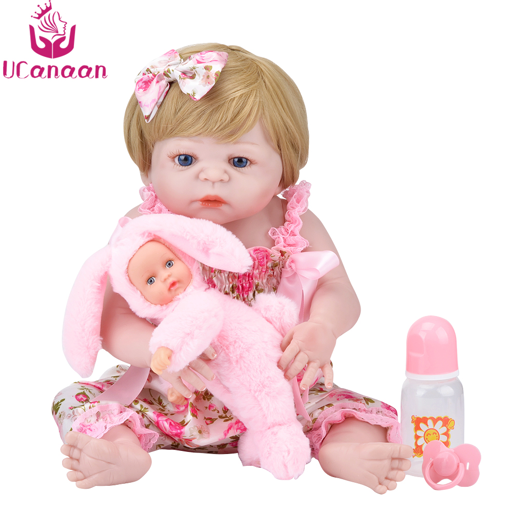 UCanaan 55CM Realistic Reborn Dolls Full Silicone Doll Handmade Baby New Born Alive Toys For Children Babies Newborn Kids Gifts ucanaan 20 50cm reborn doll hair rooted realistic baby born dolls soft silicone lifelike newborn toys for girls xmas kids gift