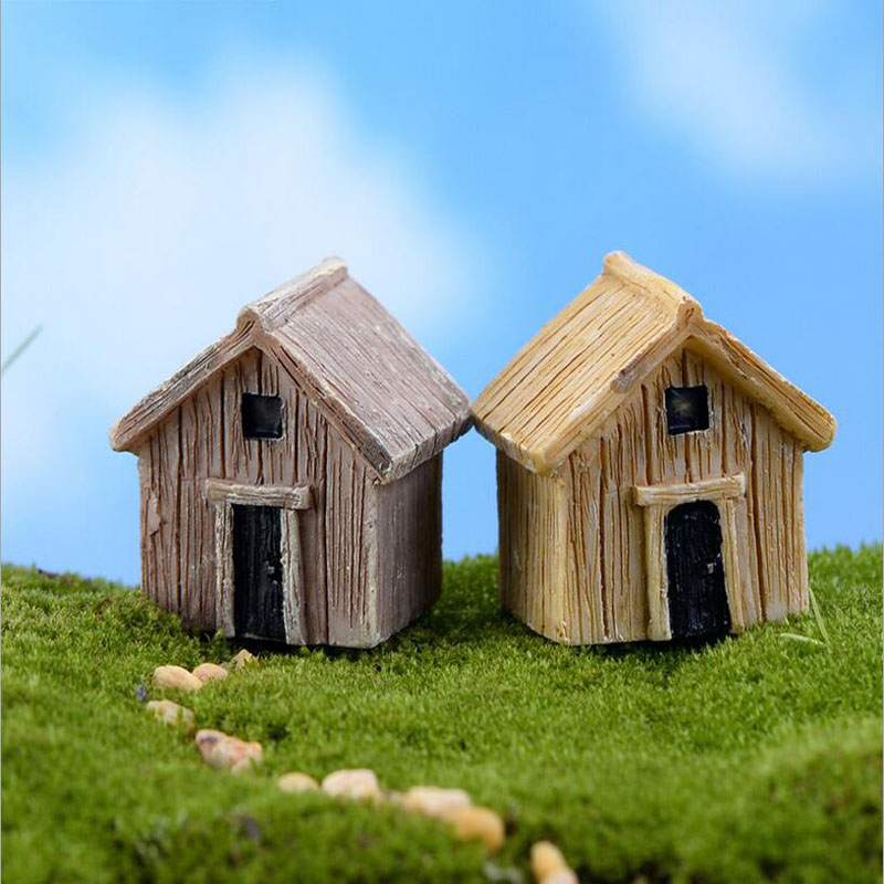Min Order $10,Moss Micro Landscape Ornaments Resin Ornaments Small Wooden  House DIY Assembling Toys In Figurines U0026 Miniatures From Home U0026 Garden On  ...