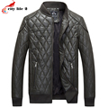 Baseball Uniform Leather Jacket Male Fashion Plaid Leather Cotton Padded Warm 2016 New Winter Men's autumn Coats 3 Colors