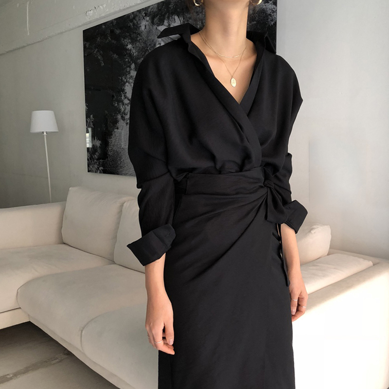 CHICEVER Bow Bandage Dresses For Women V Neck Long Sleeve High Waist Women's Dress Female Elegant Fashion Clothing New 19 13