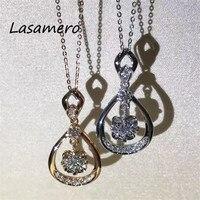 LASAMERO Halo 0 0247 CTW Round Cut Center Diamond Pave Set 18k Gold Natural Diamond Pendant