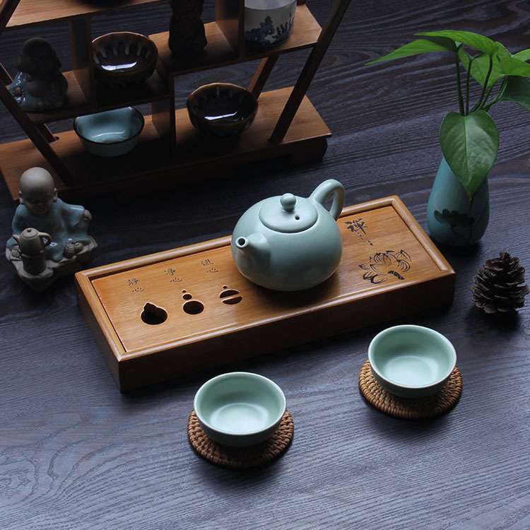 Natural Wood Bamboo Puer Tea Tray,Kung Fu Tea Set Room Board Table Chinese Traditional Culture Ceremony Tools Tea Set
