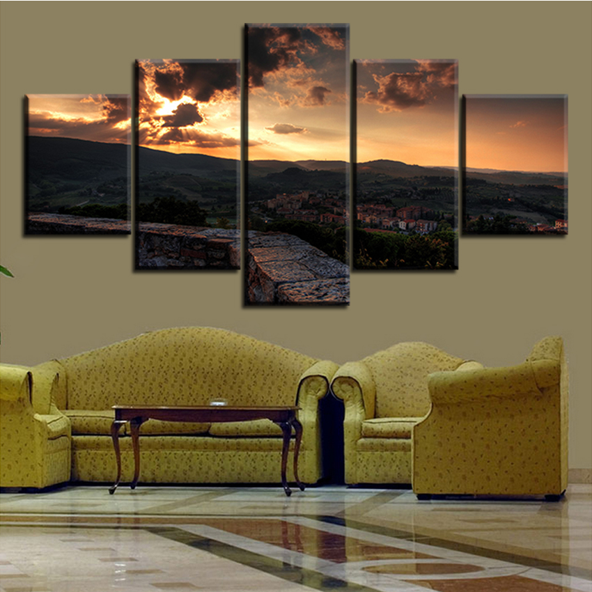 5 PCS Set Toscana Italy Tuscany Sunset Town Sky No Frame Oil Painting Canvas Prints Wall Art