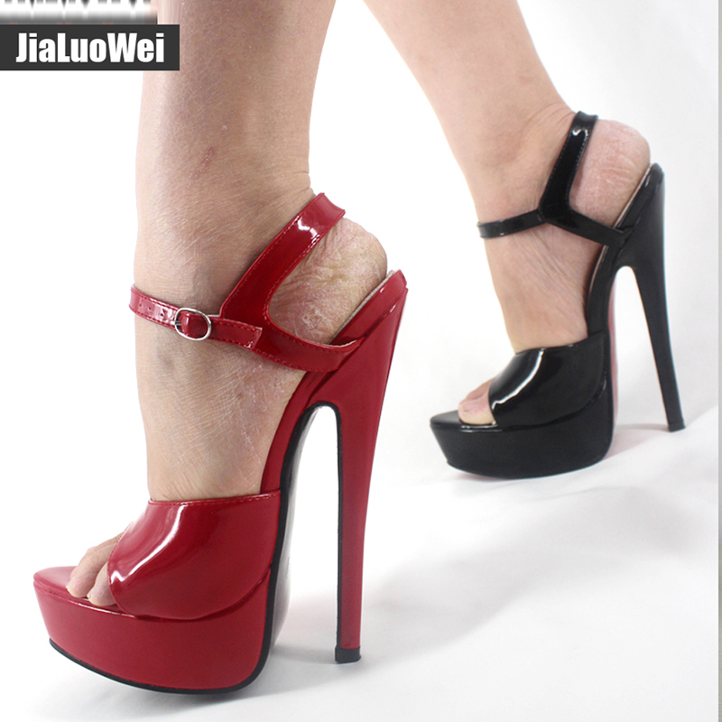 Jialuowei 18cm High Heels Sandals Womeny Ankle Strap Summer Party Dress Shoes Woman Open Toe Platform Sandals Shoes In High Heels From Shoes On