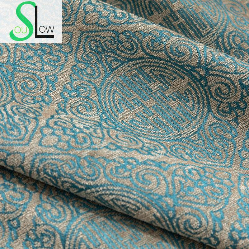 Slow Soul Blue Happy Event Modern Simple New Curtain Decoration Jacquard Curtains For Living Room Chinese Kitchen Bedroom Luxury