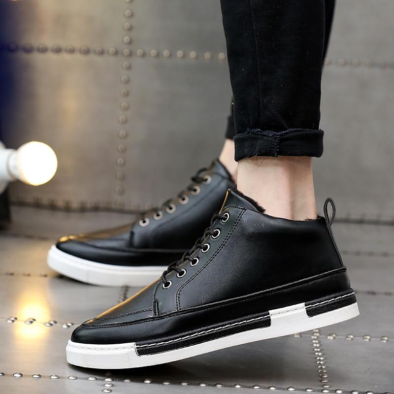 Gris Chaud En Noir marron Populaire Pu Mode Étanche Casual Adulto Garder Hiver Homme Mens Au Brun Peluche Noir Chaussures Sneakers gris Confortable aHxRcZE