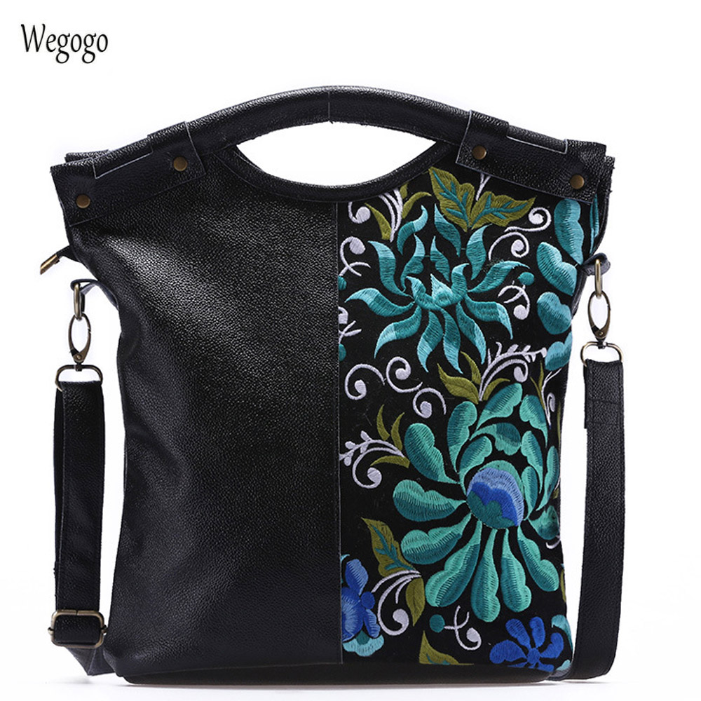 New Arrival Women Genuine Leather Handbags Luxury Floral Embroidered Women Bag Woman Tote Travel Boho Bags Sac Bolsos MujerNew Arrival Women Genuine Leather Handbags Luxury Floral Embroidered Women Bag Woman Tote Travel Boho Bags Sac Bolsos Mujer