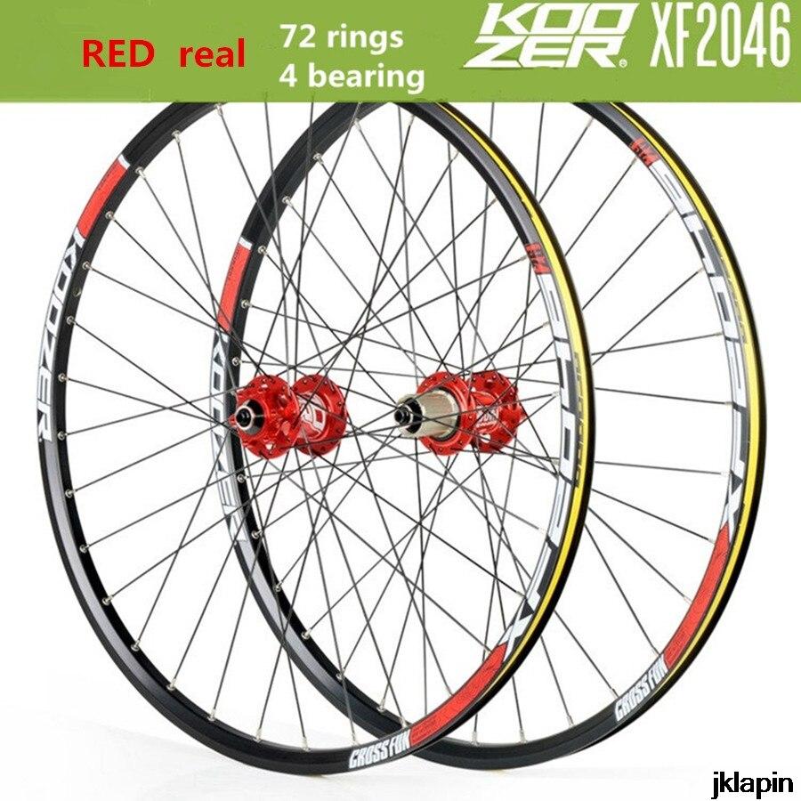 KOOZER XF2046 MTB Mountain Bike Wheelset 26/27.5/29inch 72 Ring 4 Bearing QR Thru-axis Wheels Bicycle Rim(China)