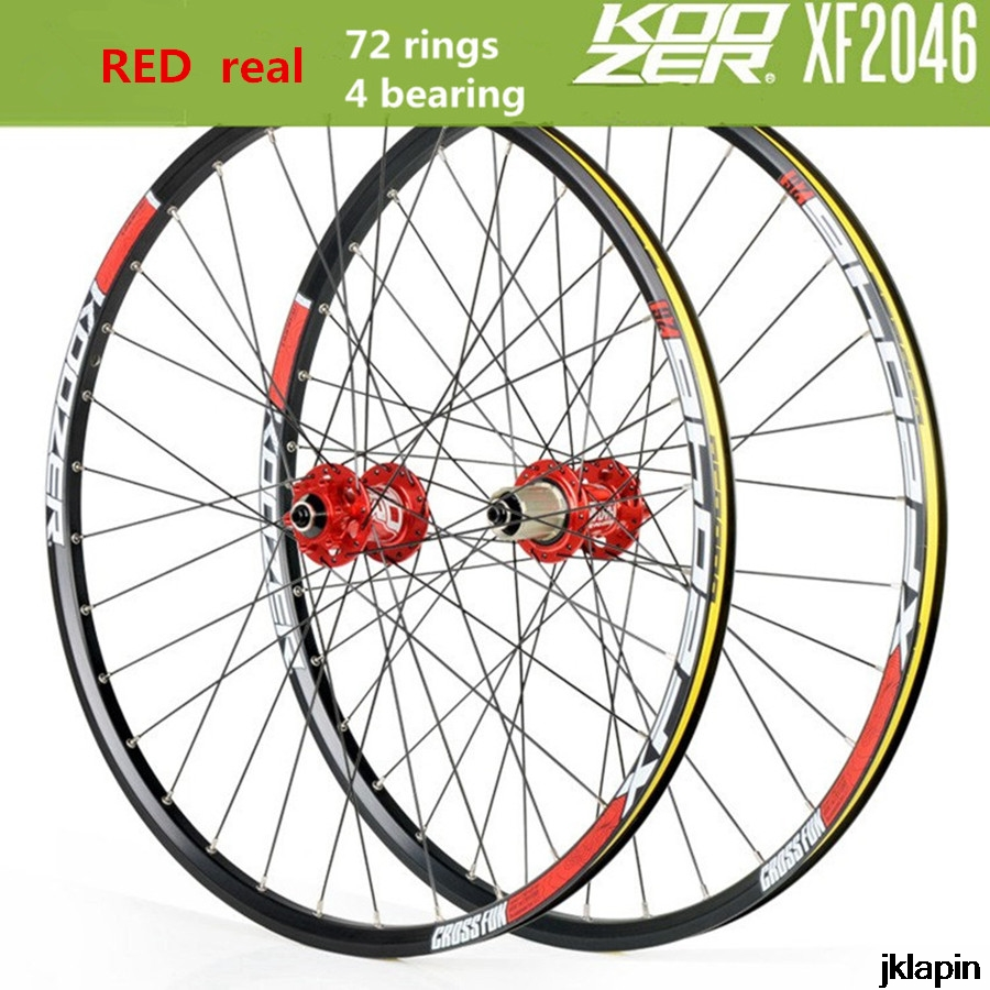 KOOZER XF2046 MTB Mountain Bike Wheelset 26/27.5/29inch 72 Ring 4 Bearing QR Thru-axis Wheels Bicycle Rim