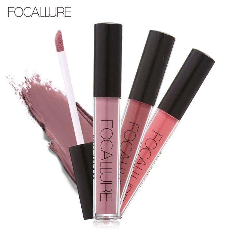 FOCALLURE Lipstick Matte Red Lips Makeup Lip Gloss Tint Waterproof Gold Shimmer Metallic Nude Matt Liquid Lipstick Pencil 1