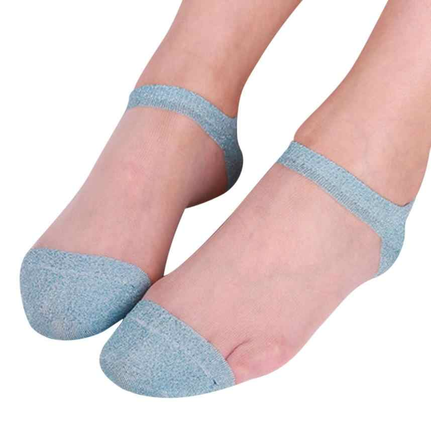 8734247dfb3 ... DOUDOULU Silky woman silver glitter socks women Transparent Thin Summer  Ankle Socks Creative Sock calcetines mujer ...