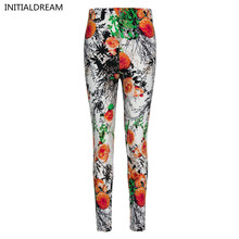 New 2017 Flower Printed Legging Fashion Slim Women leggings  High Elastic Cotton soft stretch pants female winter jeans leggins