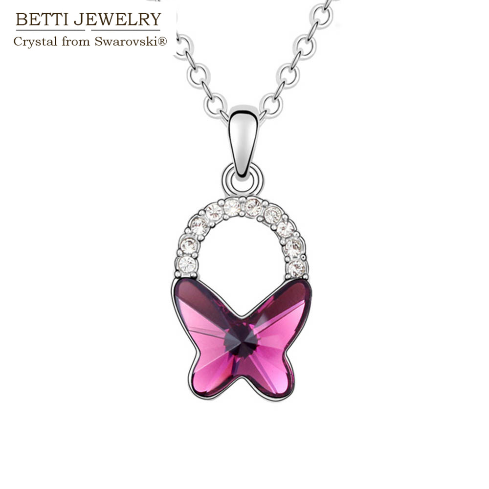 2016 Charming trendy 3 colors butterfly pendant necklace With Crystals from SWAROVSKI for Mother's D gift Bijoux Wholesale